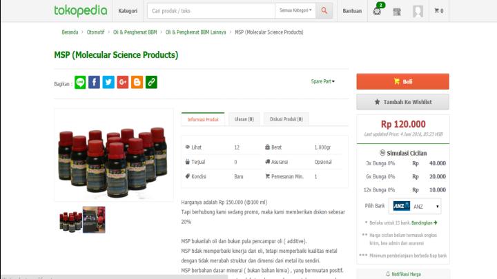 MSP sudah dapat dibeli di Tokopedia